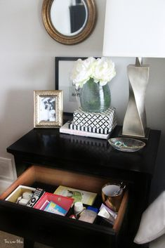 How to organize your bedside table drawer - nightstand organization This is our Bliss www.thisisourblis...