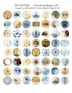 """Bottle Cap Images 1"""" round circle Vintage Sea and Beach, Ocean  Life Digital Collage Sheet No.95 Buy 2 get 1 free"""