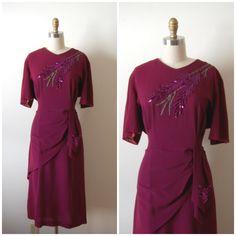 vintage 1940s dress /  plus size 40s cocktail dress / Scarlett Sequin dress.