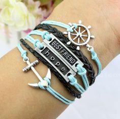 anchor bracelet,hope bracelet,Friends bracelet,Rudder Bracelet---Wax Cords and Imitation Leather Bracelet on Etsy, $6.99