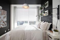 brightening dark interiors_light bedding master bedroom Small Rooms, Small Spaces, Brighten Dark Room, Bachelor Pad Bedroom, Dark Gray Bedroom, Grey Bedrooms, Deco Cool, Simple Bedroom Design, Room Interior