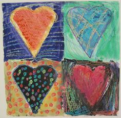Ms Maggie Mo's Jim Dine Hearts: crayon resist with watercolors, 4th grade.