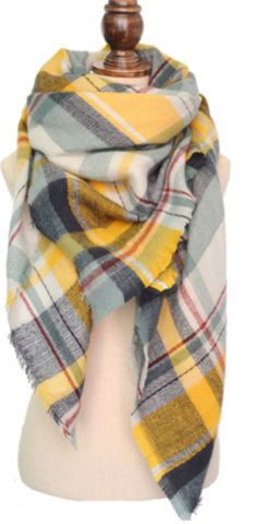 Oversized Plaid Blanket Scarf - Yellow/Blue/Gray