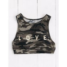 SheIn(sheinside) Camo Print Racerback Sports Bra ($8) ❤ liked on Polyvore featuring activewear, sports bras, camo sports bra, green sports bra, racer back sports bra, camouflage sports bra and sports bra