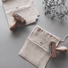 """Instagram의 gooseberrymoon님: """"Stamped some cotton muslin bags ready to send my botanical monogram rubber stamps out to some lovely customers. """""""