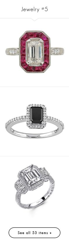 """Jewelry #5"" by annakennedy70 ❤ liked on Polyvore featuring jewelry, rings, green, vintage diamond rings, emerald cut ring, vintage rings, ruby ring, green diamond ring, black and enhancer ring"