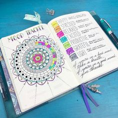 """Kara Boho Berry on Instagram: """"Circular mood tracker in progress for this month ☺️ I've gotta say I'm loving this brighter color scheme this month! Flipping through my…"""""""