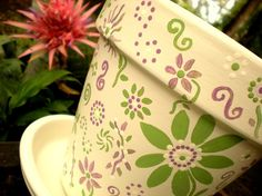 pretty painted pot