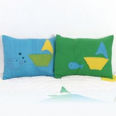 Boat Quilt Matching Pillow Covers (1 Pair) Reading Center =)