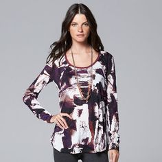 Simply Vera Vera Wang Print Crinkle Scoopneck Top - Color: My December A - Size Large