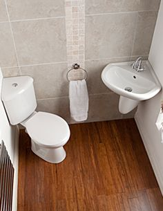 small toilet and sink for a small corner bathroom under the stairs - Google…