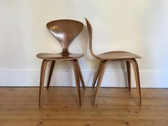 norman cherner side chairs natural walnut