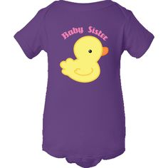 Personalized Baby Sister Infant Creepers has cute little yellow duck design for your new arrival.  Add her name with our customization tool. $16.99 www.homewiseshopperkids.com