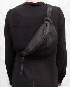 Riñonera de cuero negro de gran tamaño bolsa de bolsa/fanny