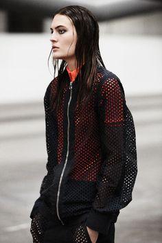 Mesh jacket + exposed zip