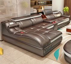 Dream Living Room Sectional - Ultimate Couch Giant Leather Sectional With Integrated Massage Chair and Speakers. Corner Sofa Design, Living Room Sofa Design, Bed Design, Living Room Designs, Modern Sofa Designs, Unique Sofas, Muebles Living, Leather Sectional Sofas, Couches