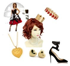 """""""Happy Halloween: Jess as the Queen of Hearts"""" by nightingale258 ❤ liked on Polyvore featuring H&M, Jimmy Choo, ChloBo and Alison Lou"""