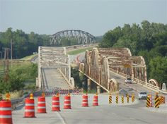 The dual bridges that carried Route 66 over the Arkansas River section that helps form the Tulsa Port of Catoosa, the most inland seaport in the U.S.
