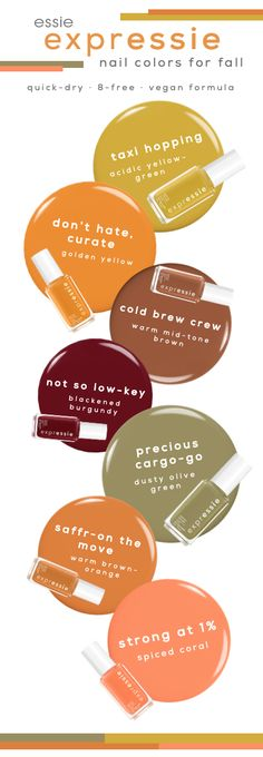 try one of these perfect shades for fall with new expressie quick-dry nail polish. Almond Acrylic Nails, Cute Acrylic Nails, Cute Nails, Pretty Nails, Quick Dry Nail Polish, Dry Nails Quick, Color For Nails, Fall Nail Colors, Edgy Nails