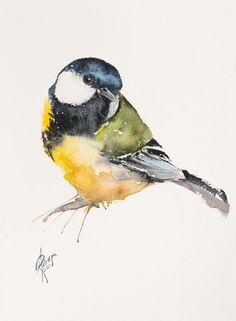 Watercolor 23 x 31 cm Watercolor Canvas, Watercolor Bird, Watercolor Paintings, Bird Paintings, Watercolor Ideas, Paintings For Sale, Original Paintings, Original Art, Great Tit