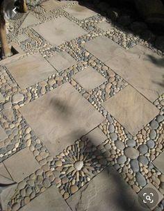 Pebble mosaic patio stones