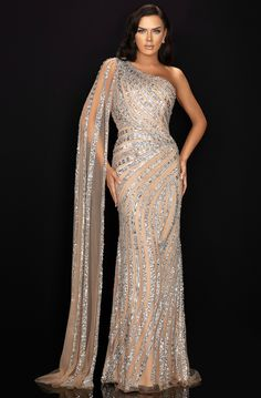 This Terani Evening Dress is one of the most celebrated styles of this year and it was always in. This look is good on all types of bodies and that is the magic of it. If you are looking for an all-time fancy dress this is your chance. Gala Dresses, Evening Dresses, Elegant Evening Gowns, Designer Evening Gowns, Ball Gowns Evening, Dressy Dresses, Club Dresses, Terani Couture, Haute Couture Dresses
