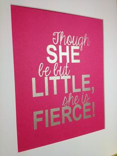 Baby girl nursery Silver quote print Though she by metallicprints, $16.00