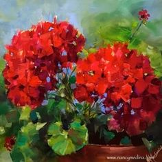 Online Classes Are Here - Living Color Red Geraniums by artist Nancy Medina, on DailyPainters. Online Classes Are Here - Living Color Red Geraniums by artist Nancy Medina, on , Art Floral, Watercolor Flowers, Watercolor Paintings, Art Paintings, Floral Paintings, Red Geraniums, Geraniums Garden, Art Painting Gallery, Art Gallery