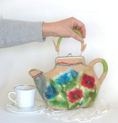 Felted purse teapot Cream wild flowers red poppy blue by galafilc, $63.00