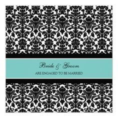 Teal Damask Engagement Party Invitations