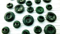 20 Dark Green Fancy Plastic Vintage Buttons by wehavegoodtaste