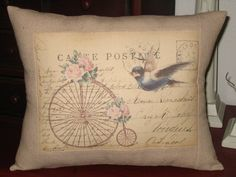 French Carte Postale Bird Pillow with French Script and Vintage Bicycle on Etsy, $23.00
