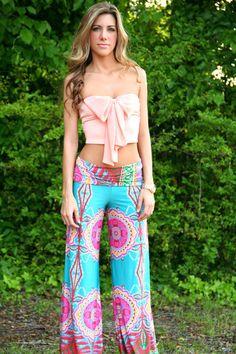 Turquoise Paisley Yoga Pants