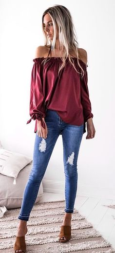 #summer #outfits  Wine Off The Shoulder Top + Ripped Skinny Jeans