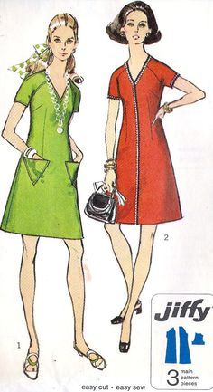 1970s Misses Jiffy Dress Vintage Sewing Pattern