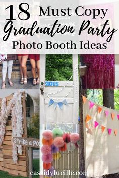Graduation Party photo booth ideas that you need to see. These grad party photo booth ideas are perfect for outdoor or indoor graduation parties. Match your photo booth to your graduation parties theme. Vintage Graduation Party, Outdoor Graduation Parties, Graduation Party Games, Graduation Party Centerpieces, Graduation Party Invitations, Graduation Party Decor, Graduation Ideas, Party Photos, Booth Ideas