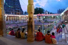Locals gathers in the evening during a festival in Madurai