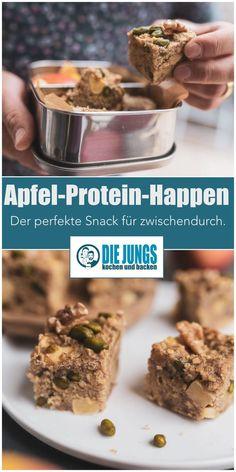 Kennt ihr das auch? Ihr seid bei der Arbeit, habt mittags nur etwas Kleines gegessen, weil es einfach viel zu heiß war, um sich den Bauch vollzuschlagen und dann kommt der Hunger ganz überraschend. Unsere Apfel Protein Happen sind der perfekte Snack für zwischendurch – egal ob im Büro, zu Hause oder unterwegs. Meal Prep in Bestform würden wir sagen! #mealprep #protein #healthy #cleaneating Apfel Snacks, Protein, Brunch, Meal Prep, Clean Eating, Low Carb, Sweets, Beef, Meals