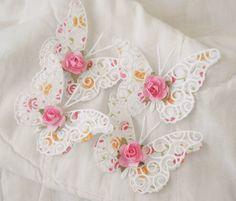 PreMade Scrapbook Shabby Chic Rose Butterfly's Paper Piecing by Becky #ShabbyCottageHandmade #ShabbyChicRoseButterflys