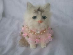 Furry Kitty Cat Figure shabby pink chic decor collectible spring ooak roses