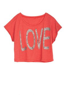 Glitter Love Tee - View All Tops - Tops - dELiA*s