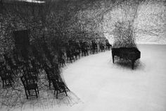 Amazing - this is a real room using black thread. By Chiharu Shiota