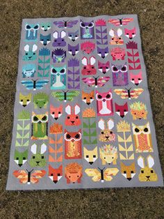 It is finally finished! Quilted by myself and all. Elizabeth Hartman Quilts, Fox Quilt, Quilted Baby Blanket, Foundation Paper Piecing, Sewing Stitches, Stuffed Animal Patterns, Woodland Animals, Baby Blankets, Baby Sewing