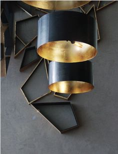 3d wall drawing / timber decoration. black lampshade, copper or golden inside.