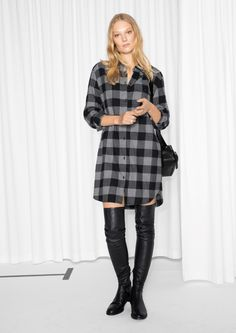 & Other Stories image 2 of Checked Flannel Shirt Dress  in Grey Dark