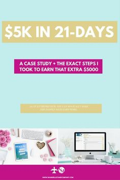 Are you out of ideas to make extra money and earn an income from home? Check out this course challenge, $5k in 21-days challenges you to make $5000 in 3 weeks. For freelancers, bloggers and entrepreneurs that want to shake things up and need cash now for that emergency fund or a trip abroad. Including case study how I made $5k within a month! http://wanderlustandcompany.com/5kin21days #entrepreneur #finance #income #extramoney #income #bloggers #extramoneyfromhome #extramoneyideas…