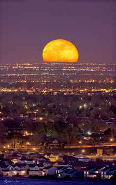 April's 2012 Full Moon, captured in this telephoto image rising over suburban Fort Collins, Colorado