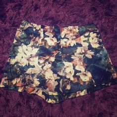 Navy floral high waisted shorts  Navy highwaisted, satin shorts with pink and white floral pattern  Forever 21 Shorts