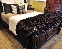 Black and Khaki Ruffled Bedding. Would rearrange the colors on the pieces, would use black as an accent.