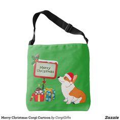 Merry Christmas Corgi Cartoon Crossbody Bag